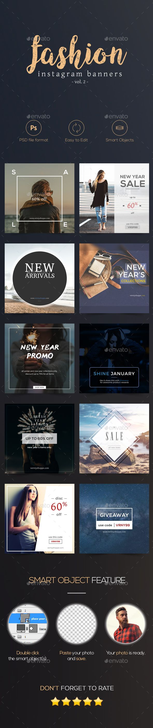 10 Minimalist and Simple Instagram Fashion Banners Template PSD #ads