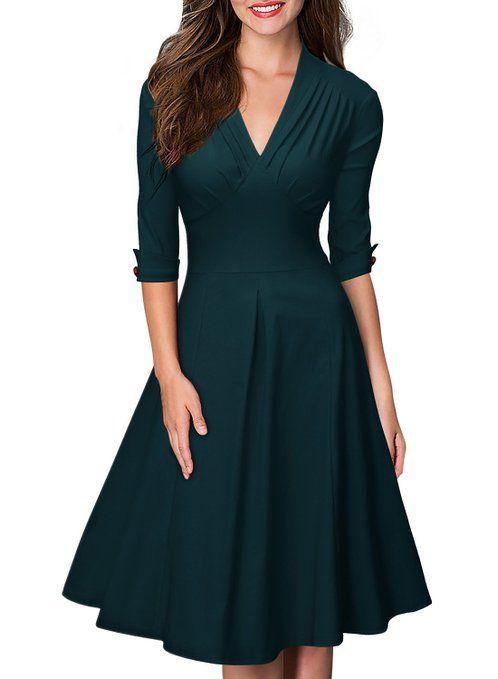 MIUSOL Women's Retro Deep-V Neck Half Sleeve Vintage Casual Swing Dress Green Small