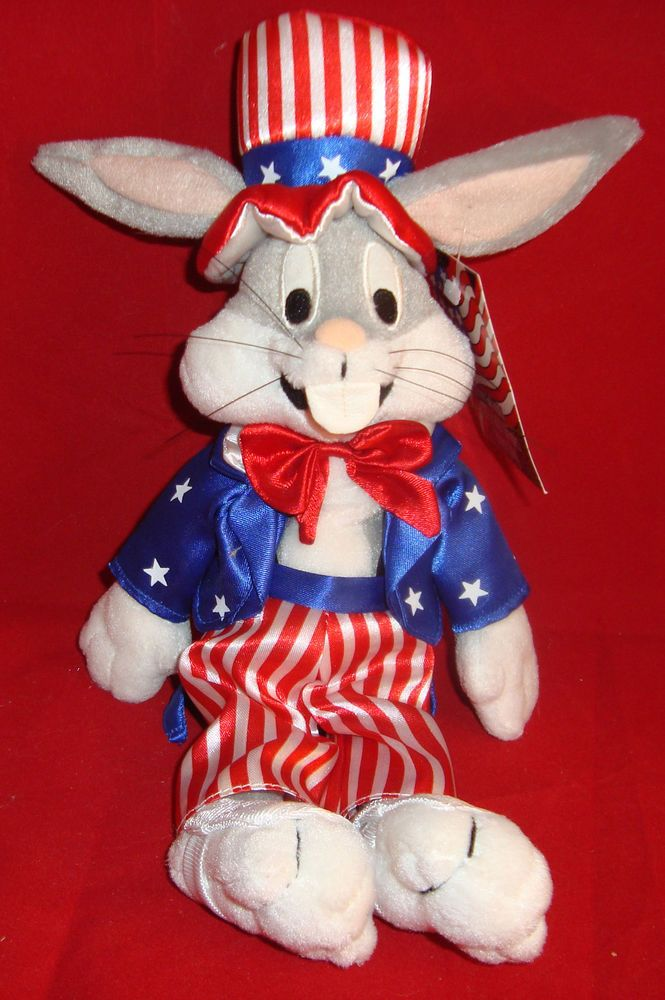 "WARNER BROS STORE-STARS&STRIPES BUGS BUNNY BEAN PLUSH UNCLE SAM SUIT-10""-NEW/TAG #WARNERBROSSTUDIOSTORES"