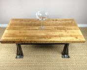 Image result for butcher block dining table wood and metal