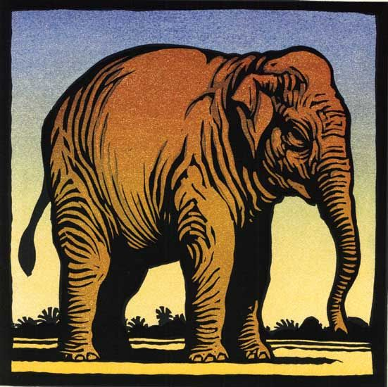 E is for Elephant (An Alphabet of Animals) - Linocut by Chris Wormell