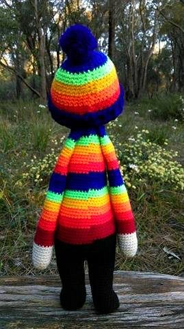 Rainbow Doll...Back.   Project information and pattern link here;   http://www.ravelry.com/projects/LindaDavie/lalylala-paul-the-toadstool-15