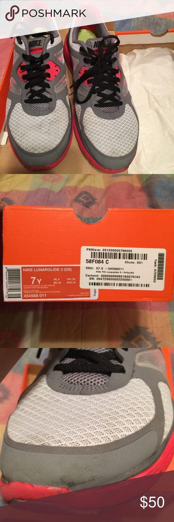 Big kids size 7/ women's size 9 Running Nikes Original Lunarglide box, gently worn. Scuff on front shown in the picture. Gray and infrared. Nike Other