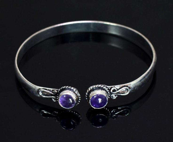 An Amethyst Gemstone Turkish Victorian Style 925 Silver Plated Designer Bracelet #krishnagemsnjewels #Bangle