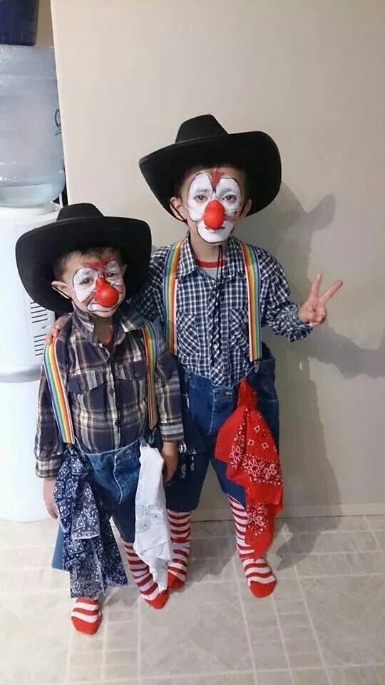 Rodeo clown costumes for children. Happy Halloween.