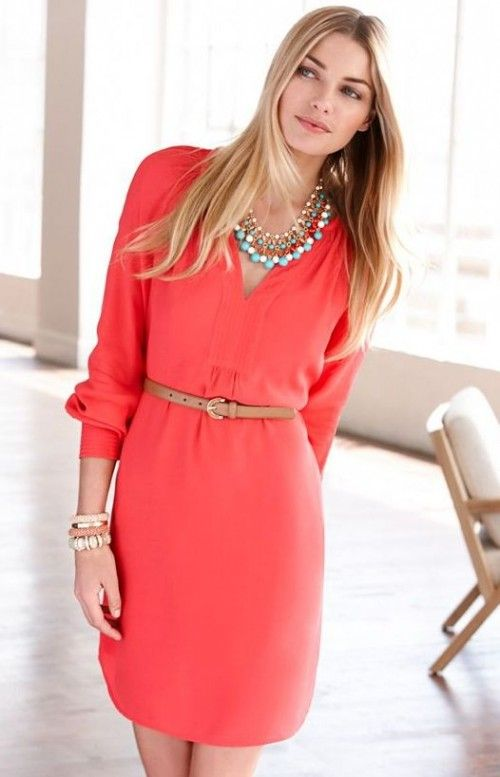 LOVE THIS DRESS!!! - color is beautiful, fits nicely, dress slightly above the knee, can hide belly and wearing a belt makes the dress look a bit more form fitting.  Would love a belt to go with this.  Great length for work and church!!