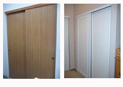 Remodelaholic | Closet Door Makeover (not crazy about the wallpaper, but I like the concept)