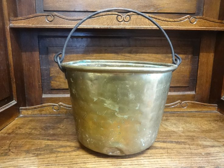Antique French brass traditional hanging open fire cooking pot planter bucket stew saucepan pan fireplace circa 1900's Purchase in store here http://www.europeanvintageemporium.com/product/antique-french-brass-traditional-hanging-open-fire-cooking-pot-planter-bucket-stew-saucepan-pan-fireplace-circa-1900s/