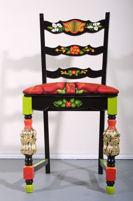 carefully painted and embroidered, this piece honors the art form of southern Mexico, from artist Veronica Prida - come sit awhile and visit www.mainlymexican.com #Mexico #Mexican #chair