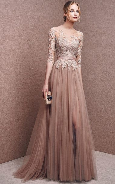 Bateau+1/2+Sleeves+Tulle+Chocolate+A+Line+Long+Prom+Dress
