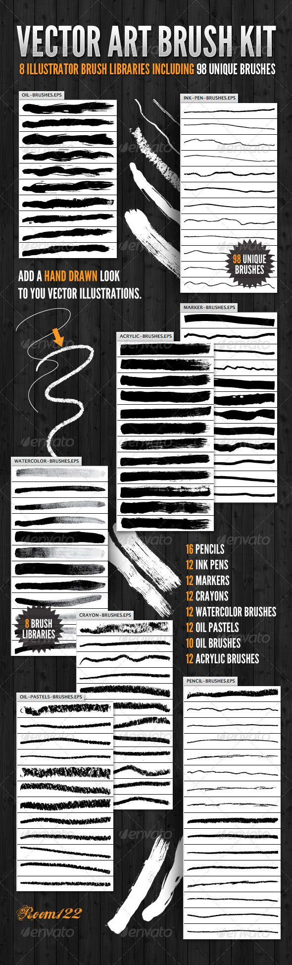 Vector Art Brush Kit #GraphicRiver This set of brushes, for Adobe Illustrator, includes 8 different media libraries with 98 unique art brushes. Add a hand drawn feel to your clean vector lines. The set includes: 16 Pencils 12 Ink Pens 12 Markers 12 Crayons 12 Watercolor brushes 12 Oil Pastels 10 oil Brushes 12 Acrylic brushes Created: 16February12 Add-onFilesIncluded: VectorEPS MinimumAdobeCSVersion: CS Tags: acrylic #art #artist #brush #brushes #cartoon #comic #crayon #eps #illustration…