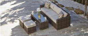 Conservatory Furniture - Moda Furnishings Rattan 3 Seater Sofa + 2 Footstools