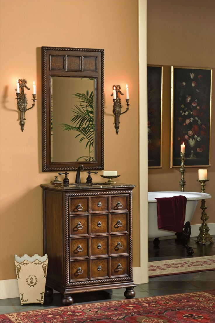 Petite Sink Chest/vanity With Mahogany Finish And Detailed Rope Carving. # Ambella #
