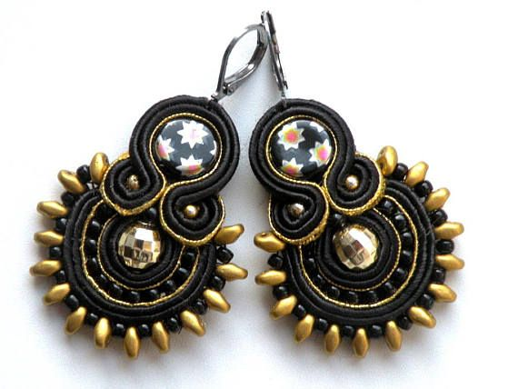 Earrings-Soutache Jewelry-OOAK-Disco