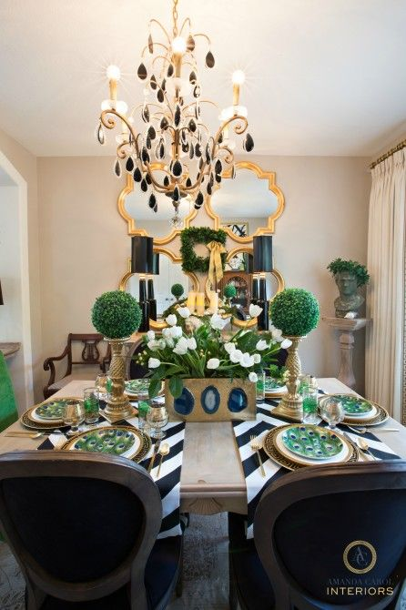 Amanda Carol Interiors Emerald Green Gold Mirrors: Christmas Dining Room Decor