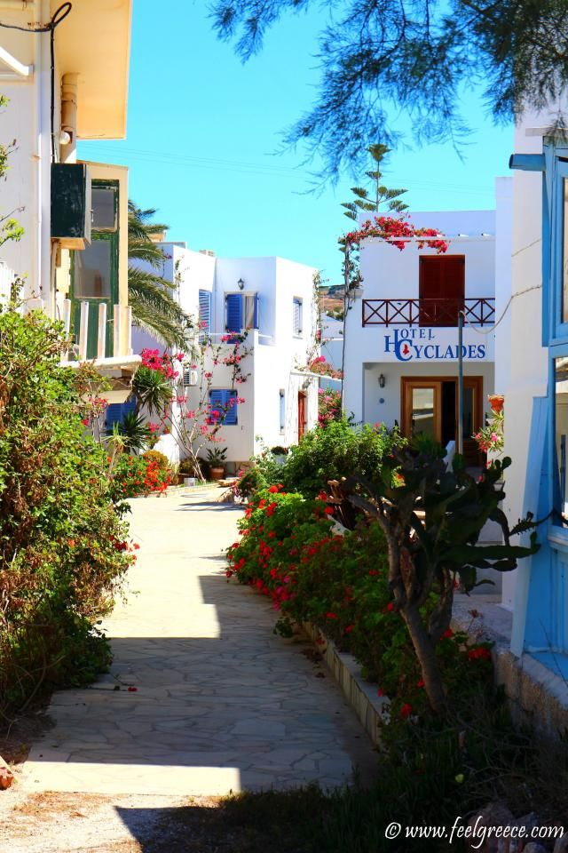 A street with hotels in Finikas, Syros Island