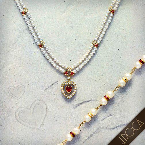 Perlas de Amor Collar y pulsera de perlas, rubíes, brillantes y oro. Diseño y creación exclusiva J.ROCA