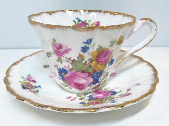 Gladstone Tea Cup and Saucer Green Gold Cups English Bone