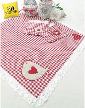 Rombo Centrotavola Angelica Home & Country Collezione San Gallo in fattoria Rosso Gallo Beige