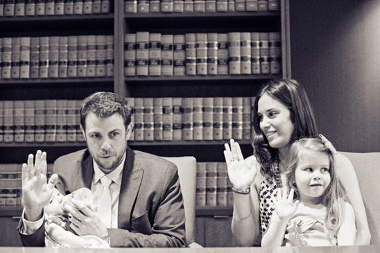 Adoption Day Photos - this family takes the oath to officially adopt their baby girl.  Love this photo!