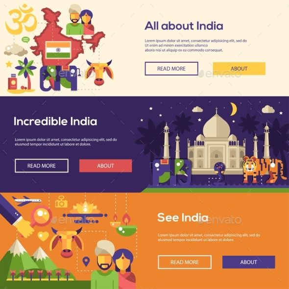 Wonderful Indian Website #5: Traveling To India Website Headers Banners Set