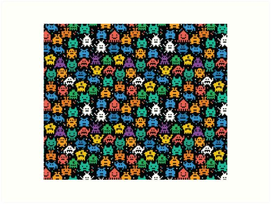 Pixelated Emoji Monster Pattern Illustration by Gordon White | Emoji Monster Large Art Prints Available in 4 Sizes @redbubble --------------------------- #redbubble #emoji #emoticon #smiley #faces #cute #addorable #pattern #frame #print #artprint #wallart