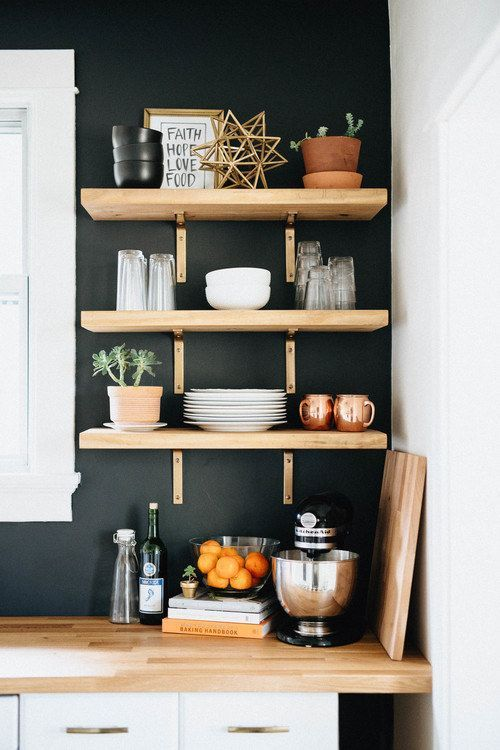 If we can't manage floating shelves, decorative brackets with a narrow profile should work.