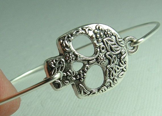 I want this!!! Etsy listing at https://www.etsy.com/listing/174757894/skull-bracelet-calavera-sugar-skull