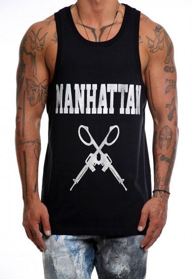 manhattan guns #vagrancylifestyle #handmade #top #man #sleeveless #tshirt