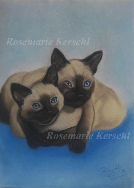 Kuschelnde Siamkatzen  von   Galerie Rosemarie Kerschl  auf DaWanda.com
