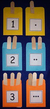 This is a fun activity to build math skills ... hand-eye coordination ... and fine motor skills. Take colored library pockets and glue a number onto the front of each one. Then set out craft sticks and the children have to put the correct number of craft sticks into each library pocket.
