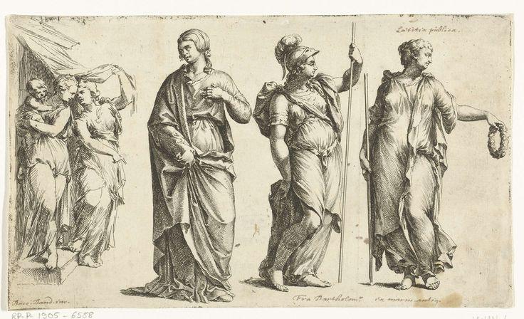 Jan de Bisschop | Drie vrouwenbeelden en een groep met twee vrouwen en een kind, Jan de Bisschop, 1668 - 1671 | Geheel links een groep van twee vrouwen, de ene houdt een kind op haar arm (a). Ernaast een vrouw die haar rok omhoog houdt (b). In het midden rechts Minerva (?, c). Geheel rechts een beeld dat verschillende figuren zou kunnen vorstellen, mogelijk een muze, of de godin Flora, of Laetitia publica (d).