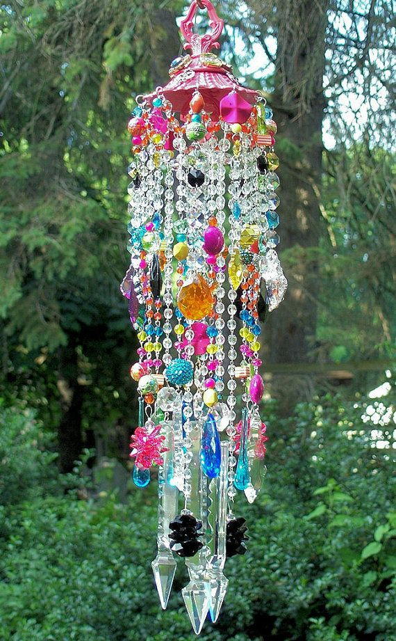 Hot Tropics Jeweled Antique Crystal Wind Chime by sheriscrystals, $179.95