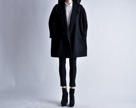 minimalist black wool batwing slv coat m / l by persephonevintage, $145.00