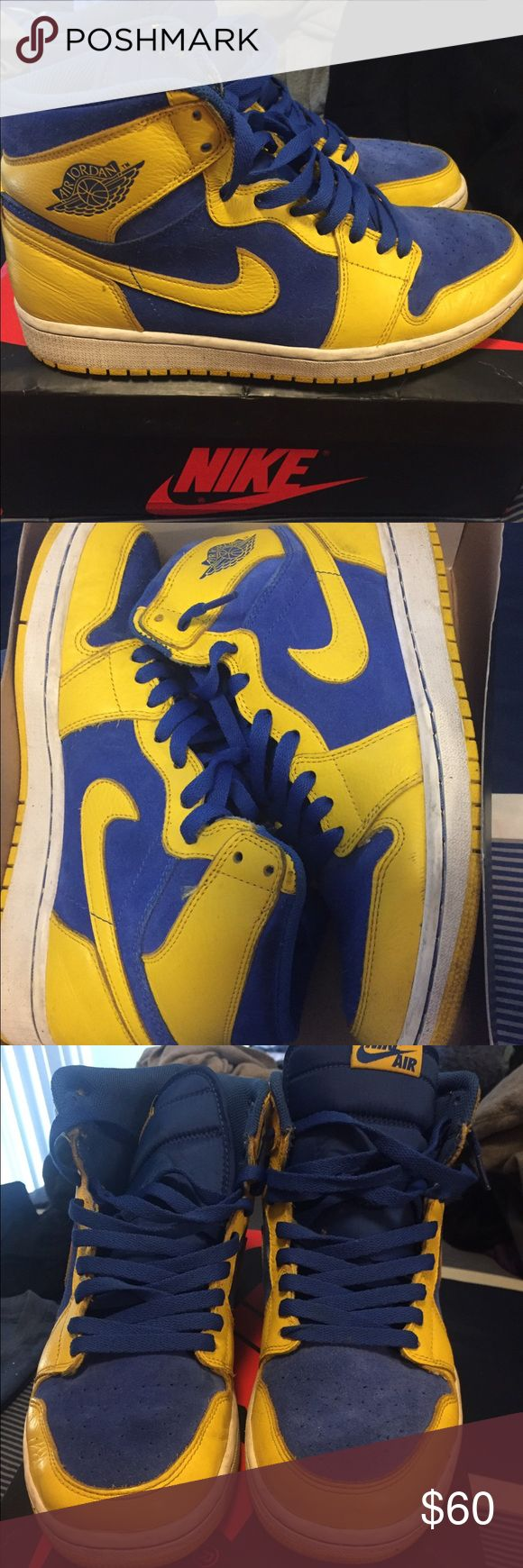 Jordan Retro 1's Air Jordan one retros for men size 9. Golden state warrior colors. High ogs Nike Shoes Athletic Shoes