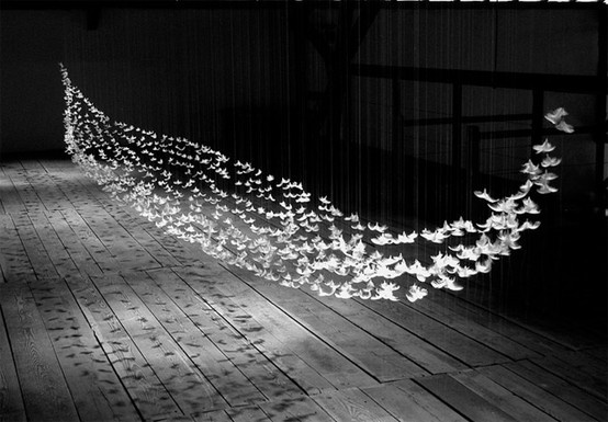 This beautiful suspended installation is by French artist Isa Barbier who uses feathers hung on filament to create abstract geometric volumes.