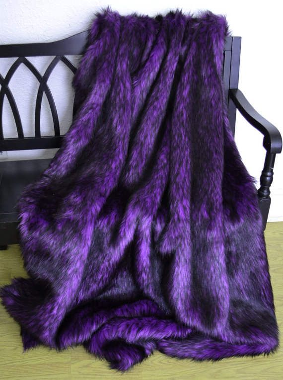 Faux Fur Throw Blanket Purple and Black by CindyHeitkampDesigns