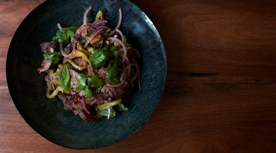 Zak Pelaccio's Hangar Steak Salad from his new book, Eat With Your Hands.  Thanks, Tasting Table.Cooking Salad, Salad Recipe I Want To Cooking, Peppers Steak, Salad Recipes, Lime Juice, Hangers Steak, Spicy Steak, Hangar Steak, Steak Salad