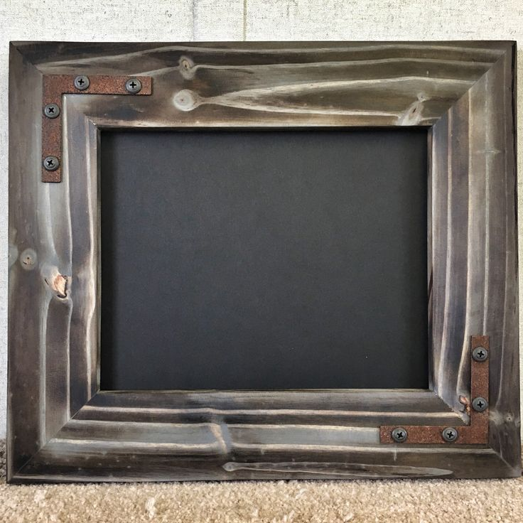 Knotty Pine Picture Frame Charcoal Grey finish  Rusted Metal hardware