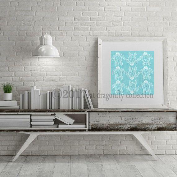 Artist Shanni Welsh's Sea turtle print for home decor. Nautical sea turtle wall art. Sea turtle poster. Coastal décor.