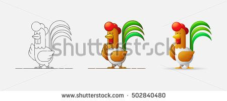 Cock. New Year 2017. Year of the Rooster. Rooster in different styles. Contour, flat, cartoon. Vector illustration.