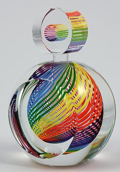 Rainbow Perfume Bottle: Paul D. Harrie: Art Glass Perfume Bottle - Artful Home