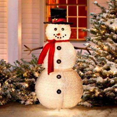 49 fluffy snowman outdoor christmas decoration - Snowman Christmas Decorations
