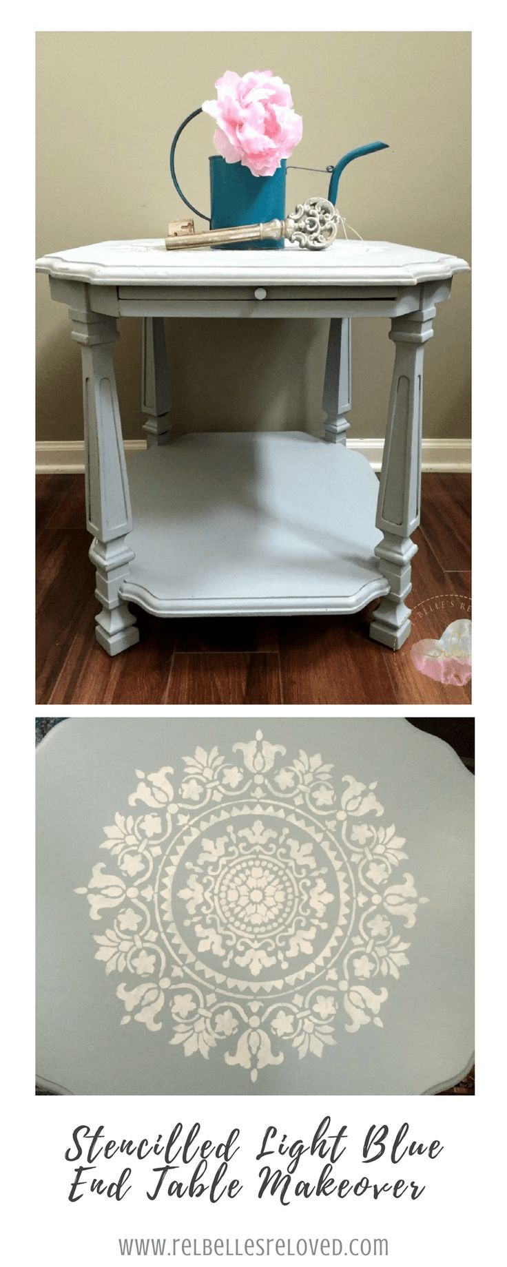 Stencilled Light Blue End Table Makeover Using Rethunk Junk Paint By Laura.