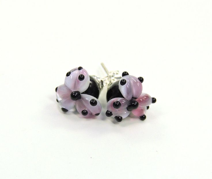 Lampwork Beads Earrings studs pink flower  - pinned by pin4etsy.com