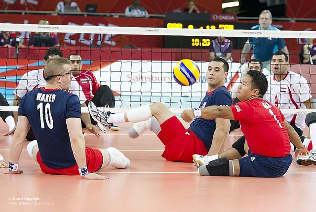 Lance Corporal Netra Rana, 28 (right) from 1 Royal Gurkha Rifles (RGR) in action as a defensive player in the Team GB Sitting Volleyball for the London Paralympics 2012, as they played their second match in the competition against the experienced No 3 team in the world Egypt.