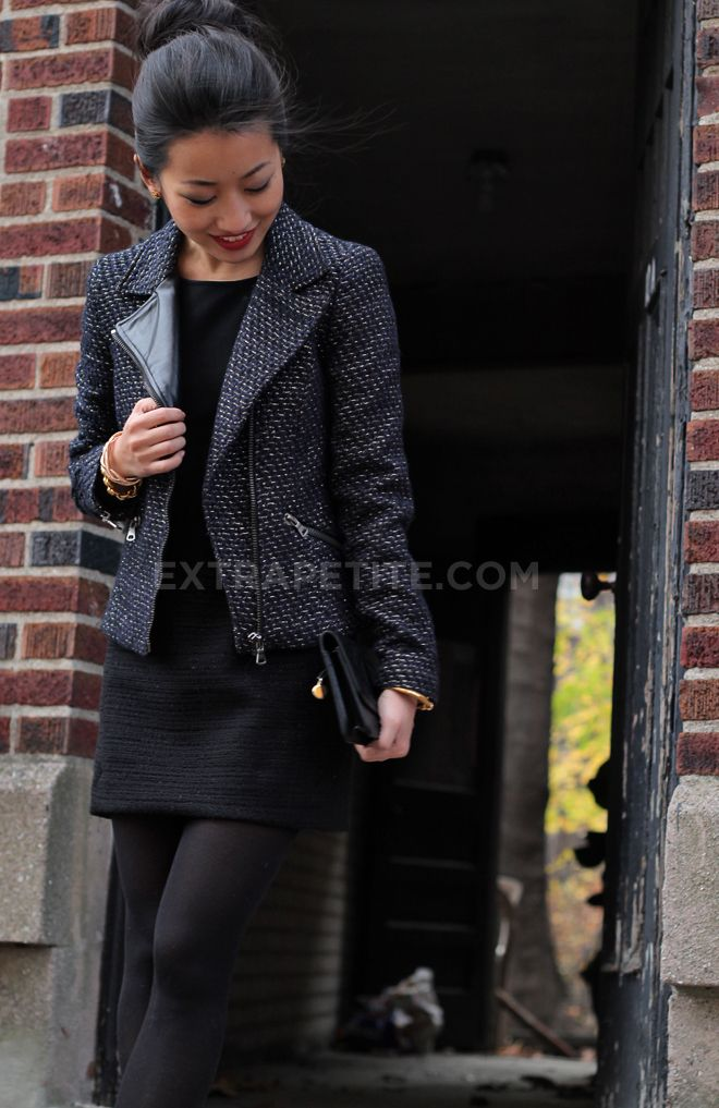 black dress, tweed moto blazer, opaque tights, work outfit
