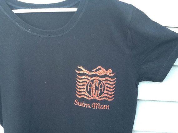 Personalized swim mom shirt by OBXEmbellishments on Etsy