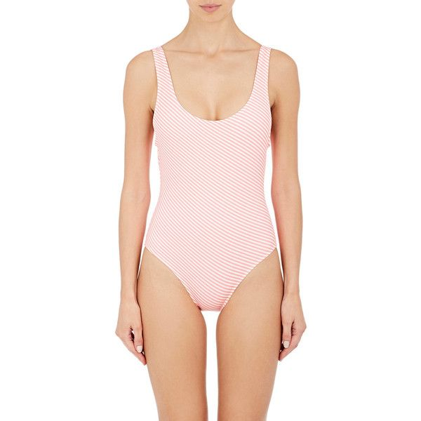 Solid & Striped Women's Anne-Marie One-Piece Swimsuit ($168) ❤ liked on Polyvore featuring swimwear, one-piece swimsuits, full coverage swimsuits, striped swimwear, neon pink one piece swimsuit, striped swimsuit and full coverage bathing suits