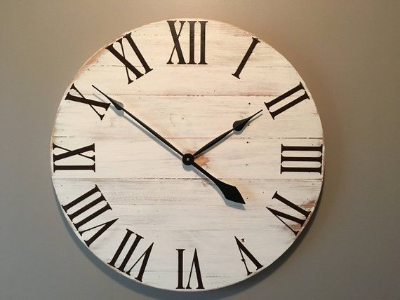 Large Off White Rustic Wood Clock Pallet Clock Reclaimed Rustic Wood Clocks Wood Clocks Farmhouse Clocks